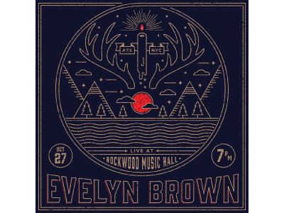 Evelyn Brown Flyer candle banner antlers gold flyer music mountains clouds stars moon austin new york city