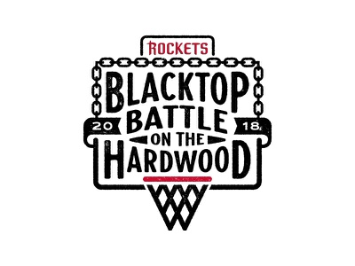 Blacktop Battle on the Hardwood Logo typography chains hoops hardwood battle blacktop basketball rockets houston