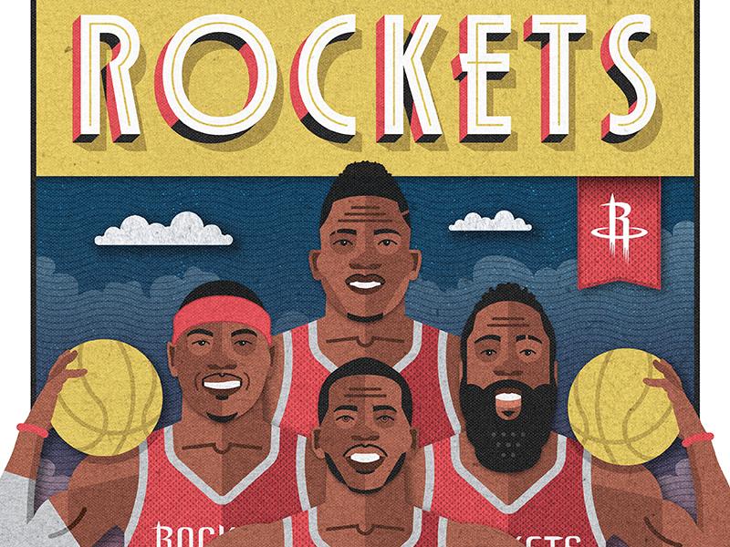 Rockets Illustrated Poster art deco illustration red capela cp3 chris paul melo carmelo harden basketball rockets houston