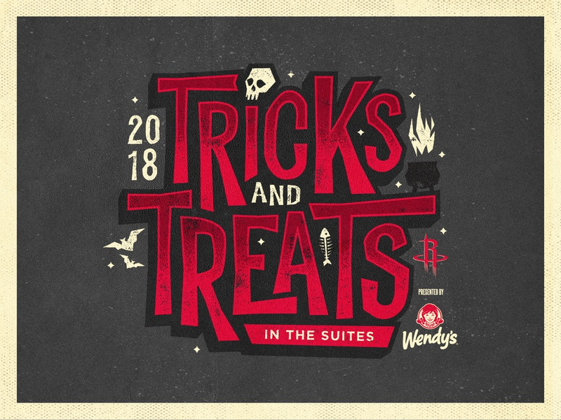 Tricks AND Treats Logo cauldron bats skull spooky halloween wendys basketball suites treats tricks rockets houston