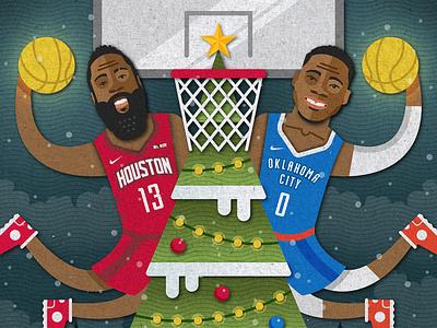 2018 Christmas Day Matchup Illustration snow presents illustration basketball christmas thunder oklahoma city rockets houston