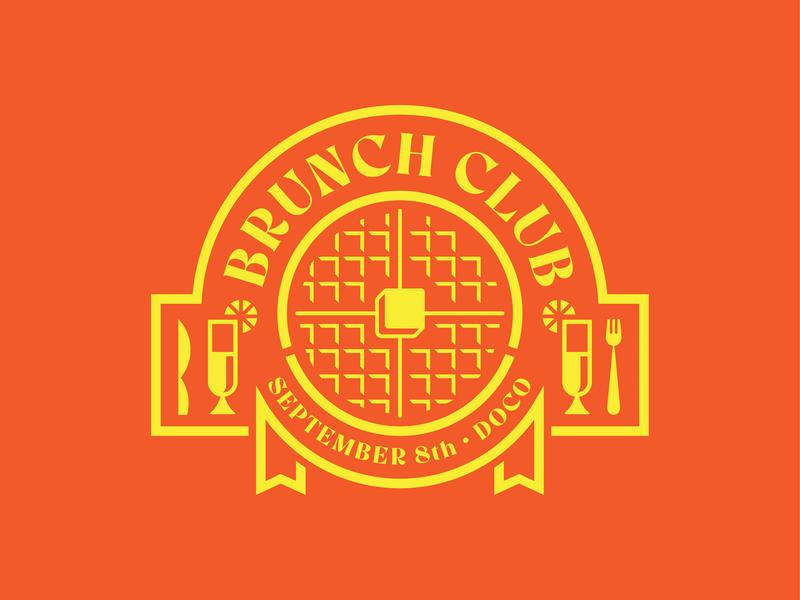 Brunch Club Logo (Killed Concept) kings sacramento butter yellow orange banner knife fork mimosa waffle club brunch