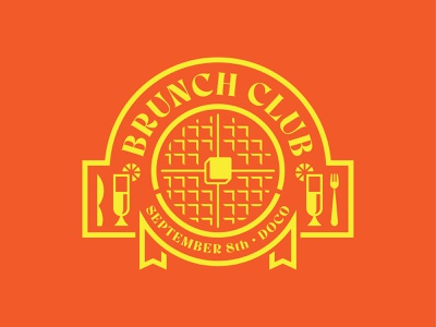Brunch Club Logo (Killed Concept) kings sacramento butter yellow orange banner knife fork mimosa waffle club brunch