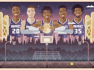 YOUNG KINGS sunset purple bleachers hoops tower bridge moon illustration basketball sacramento