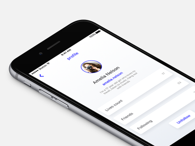 reflow - friend profile UI ui neat fresh live flat profile friend blue app