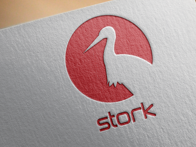 Strok v4 flat design bird logo design logo icon stork