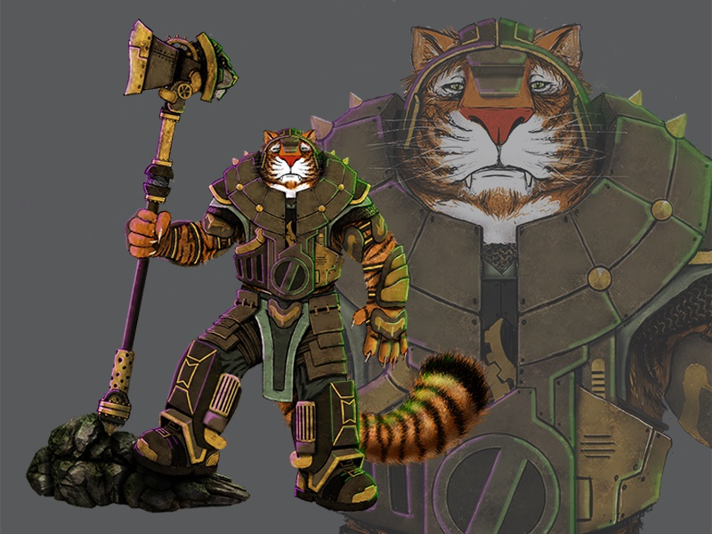 Character Design Steampunk Tigerlord characterdesign tiger conceptdesign illustration photoshop