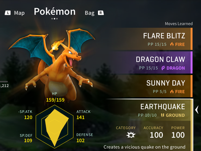 Pokémon Switch: Fantasy UI Concept typography fantasy ui charizard concept fantasy nintendo ui switch pokemon pokémon