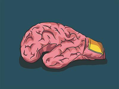Cerebriform Boxing Glove Illustration anxiety mind brain like cerebriform boxing glove brain