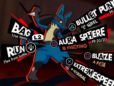 Persona x Pokemon Crossover Concept: Battle UI concept fantasy typography ui lucario battle crossover pokemon persona