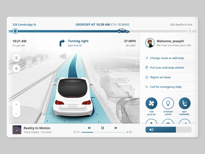 In-car user interface for a self driving ride ride hailing autonomous car car interface self driving