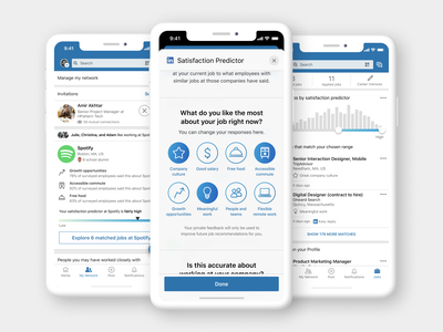 Satisfaction Predictor: LinkedIn concept mobile app mobile ui linkedin job application recruiting ratings survey job hunting