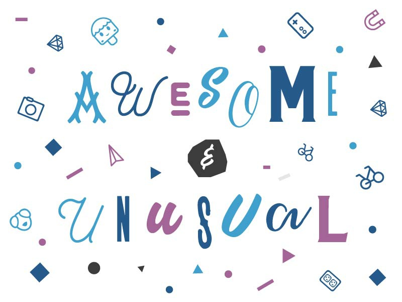 Awesome & Unusual typography icons illustration