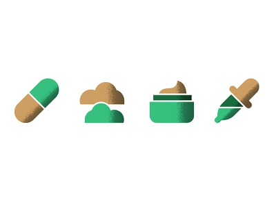 Cannabis Icons vector ui illustration brand navigation art direction lifestyle oil tinctures topicals inhalation edibles thc cbd gold green icons