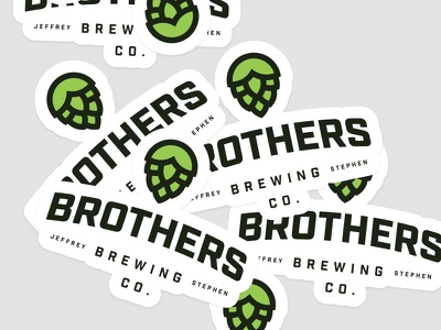 Brothers Brewing Co. stickers yellow minimal logo homebrew hops brothers beer brewing