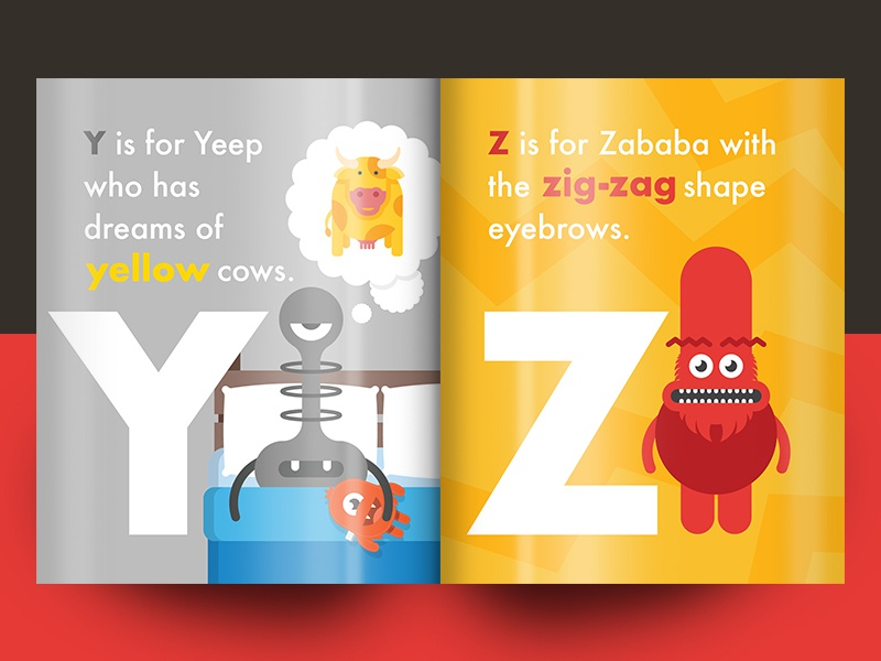 Squiggle Park Book Spread II layout reading learning characters creatures monsters alphabet colourful children book