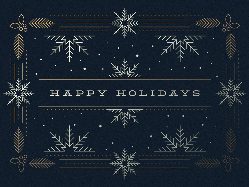 Happy Holidays card christmas snow navy gold holly snowflakes winter happy holidays