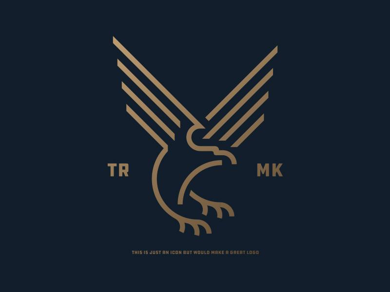 Eagle rich logotype animal minimal line drawing icon golden flying bird bald eagle eagle