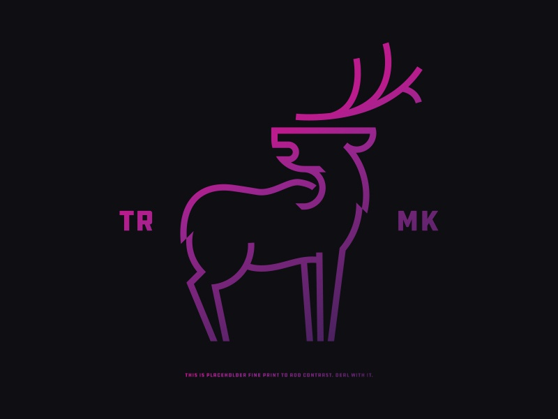 Deer nature woods logotype animal minimal line drawing icon purple pink neon antlers deer