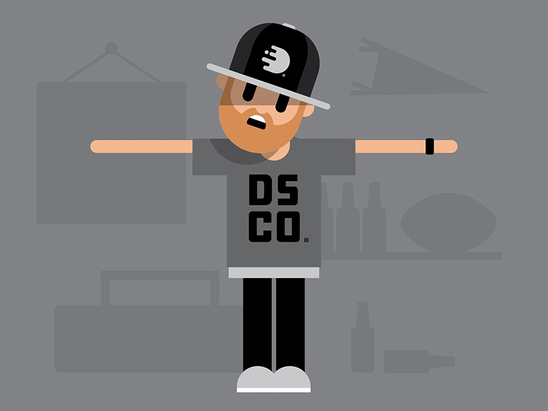 discoarcade avatar flat minimal grey white black hat simple illustration avatar character discoarcade