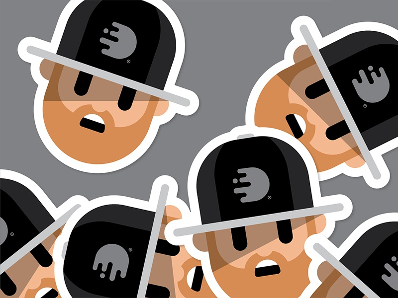 Discoarcade Vinyl Stickers sticker flat minimal grey white black hat simple illustration avatar character discoarcade