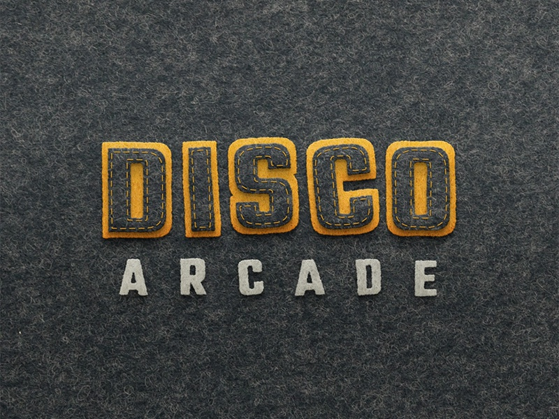 Discoarcade - Felt Animation craft papercut handmade warm wool texture grey yellow type disco felt