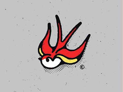 Swallow screenprint texture gritty retro vintage bird sailor tattoo flash swallow yellow red