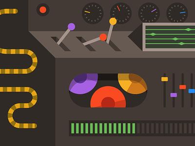 Robotic Thing dials random flat illustration simple primary colorful machine robot