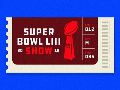 Super Bowl LIII Show 53 sbliii trophy lombardi vector blue red ticket football nfl superbowl