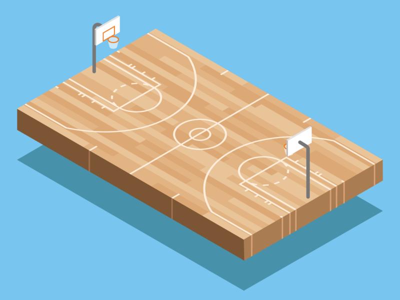 Basketball Court isometric isometric illustration isometric art woodgrain wood basketball court basketball sports vector flat minimal illustration