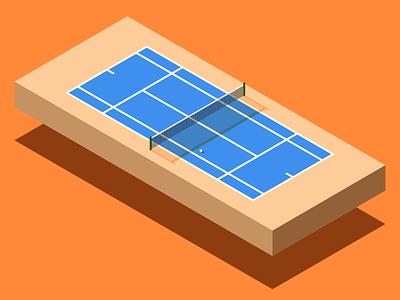 Isometric Tennis Court blue brown orange tennis sports vector flat minimal illustration isometric isometric art