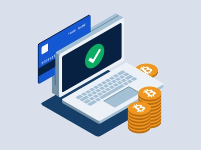Buying Crypto blockchain payment credit card coins isometric crypto exchange cryptocurrency laptop wallet crypto