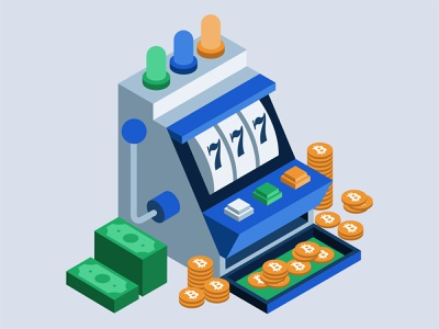Bitcoin Slot Machine isometric cash money slots gambling casino crypto currency cryptocurrency crypto bitcoin