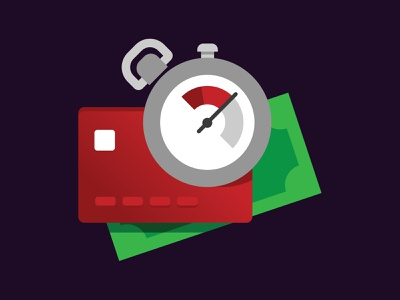 Fast Deposit! illustration minimal vector flat bank secure withdrawal money transfer crypto cryptocurrency creditcard speedy stopwatch money deposit