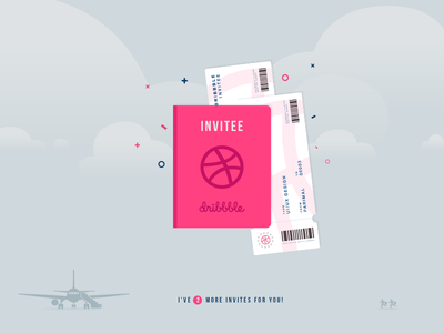 2 Dribbble Invitation!!  blue pink flat design google material infographic invitation ticket passport vector player dribbbler dribbble invitation