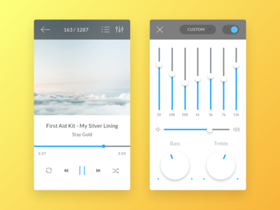 Music Player ui ux ios android mobile app mobile ui sketch player media player equalizer music player