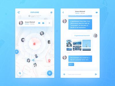 Map Chat App tracker messenger social app ios ux ui app social message chat map