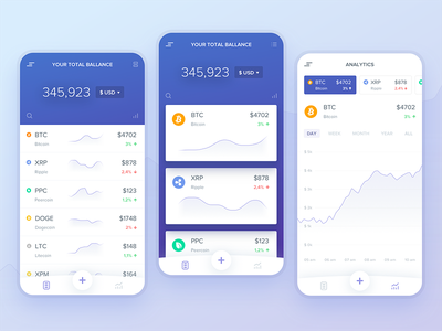 Cryptocurrency Portfolio Concept ui mobile app stock wallet dashboard chart bitcoin trading crypto portfolio cryptocurrency
