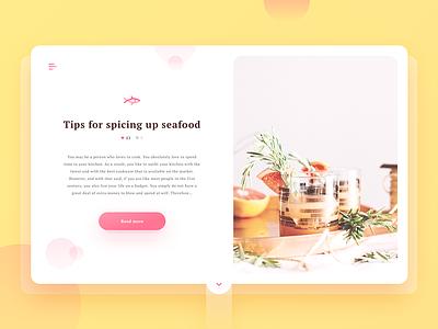 Article Card Concept website photo webdesign cooking fish minimal ux ui split screen split card article