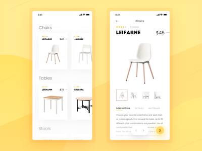 Ecommerce Mobile App Concept cart table chairs mobile ecommerce design ecommerce app retail mobile app shop furniture ecommerce