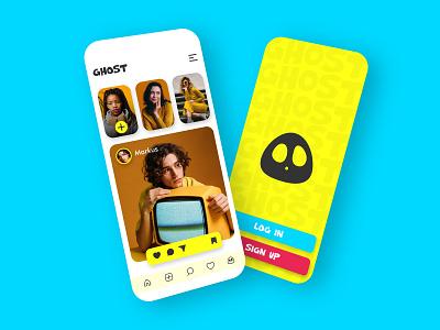 Instagram cum Snapchat mixed UI flat design ui application yellow yellow logo minimal app design minimalistic cute art vector logo user interface snapchat instagram app ui design app ui app design