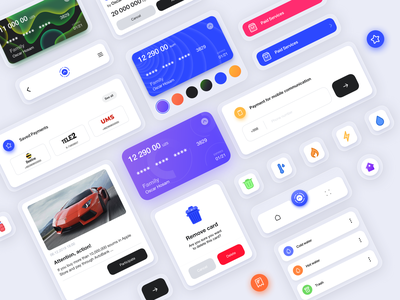 UI Kit for bank app card typography material illustration color branding uikit uiux bank