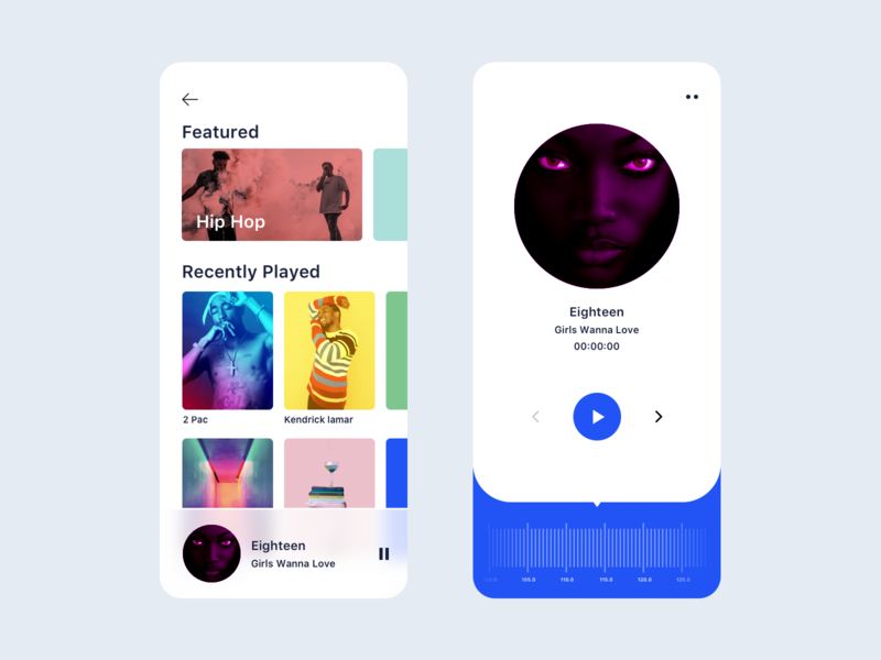 Radio UI for iOS ux ui design vector icon dashboard typography branding color illustration artist music player radio