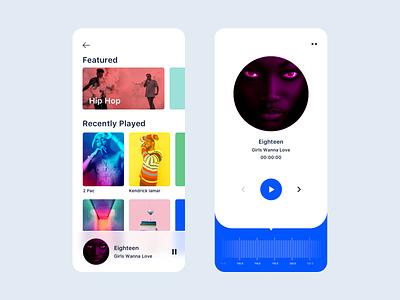 Radio UI for iOS ux ui design vector icon dashboard typography branding color illustration artist music player radio