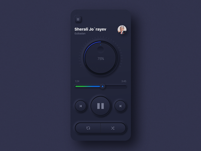 Skeuomorphic Music Player flat material illustration music player branding design player music app ux dark color