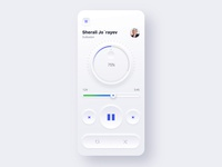Skeuomorphic Music Player Light version buttons material sound illustration dark light player music design ui color