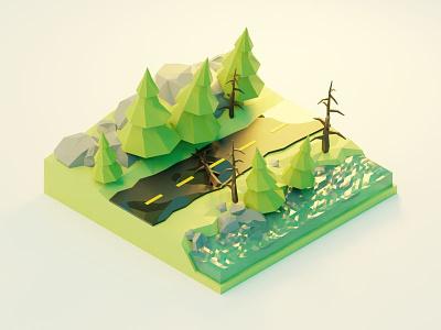 forest road blender3d blender 3d illustrations 3d illustrator 3d modeling 3d artist 3d art 3d