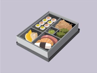 Bento Box Illustration vector illustration sushi flat design bento box