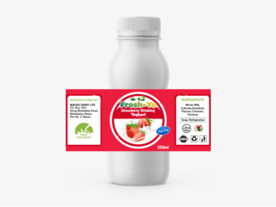 Yoghurt Sticker design concept ux photography brand illustrator vector clean flat bottle advertising graphic design strawberry photoshop illustration psd mockup logo branding sticker yoghurt