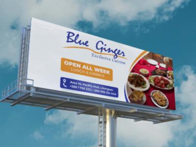 Blue Ginger Billboard psd advertising ux modern mockup artwork template art graphic design design photoshop brand identity package businesscard corporate branding logo billboard